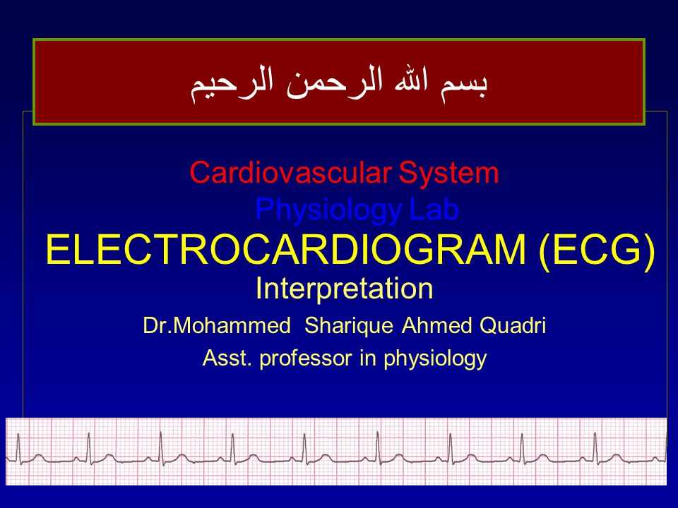 ELECTROCARDIOGRAM (ECG) Cardiovascular System Physiology Lab Interpretation Dr.Mohammed Sharique Ahmed Quadri Asst.