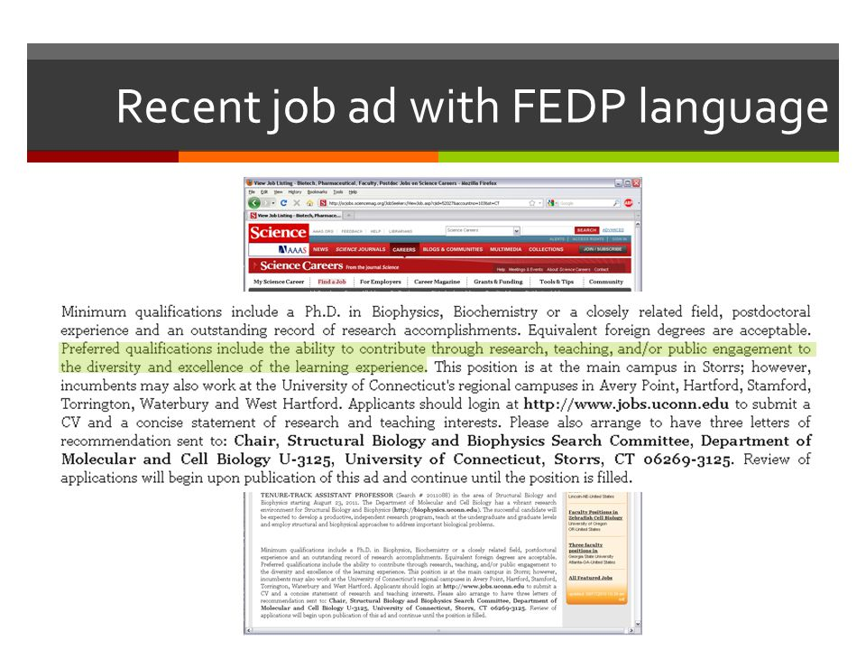 Recent job ad with FEDP language