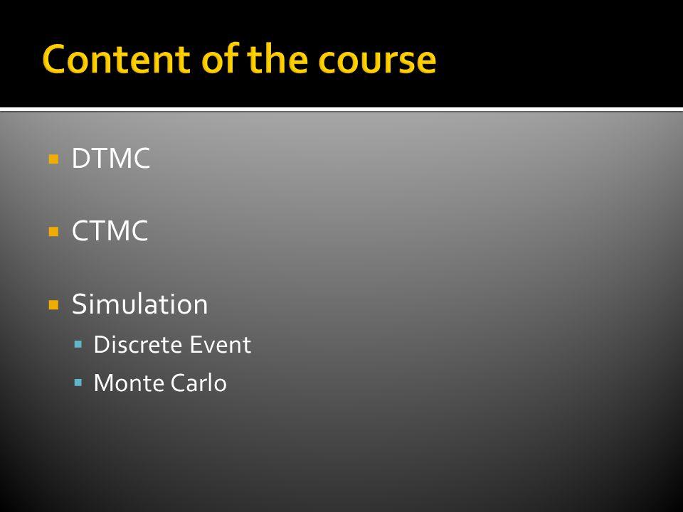  DTMC  CTMC  Simulation  Discrete Event  Monte Carlo