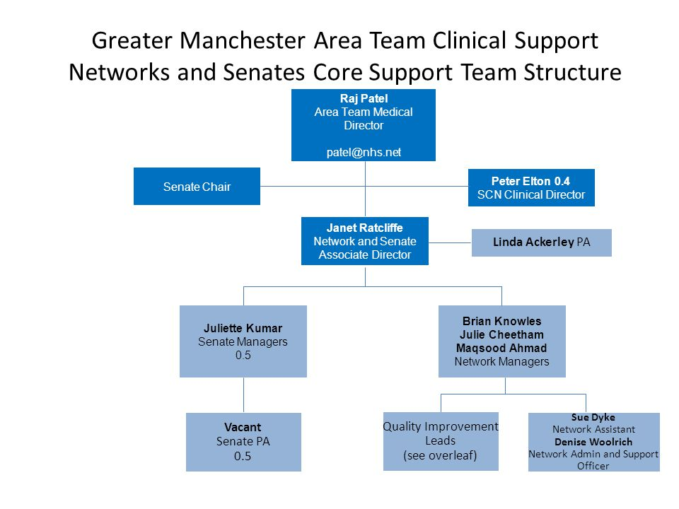 Greater Manchester Area Team Clinical Support Networks and Senates Core Support Team Structure Linda Ackerley PA Janet Ratcliffe Network and Senate As