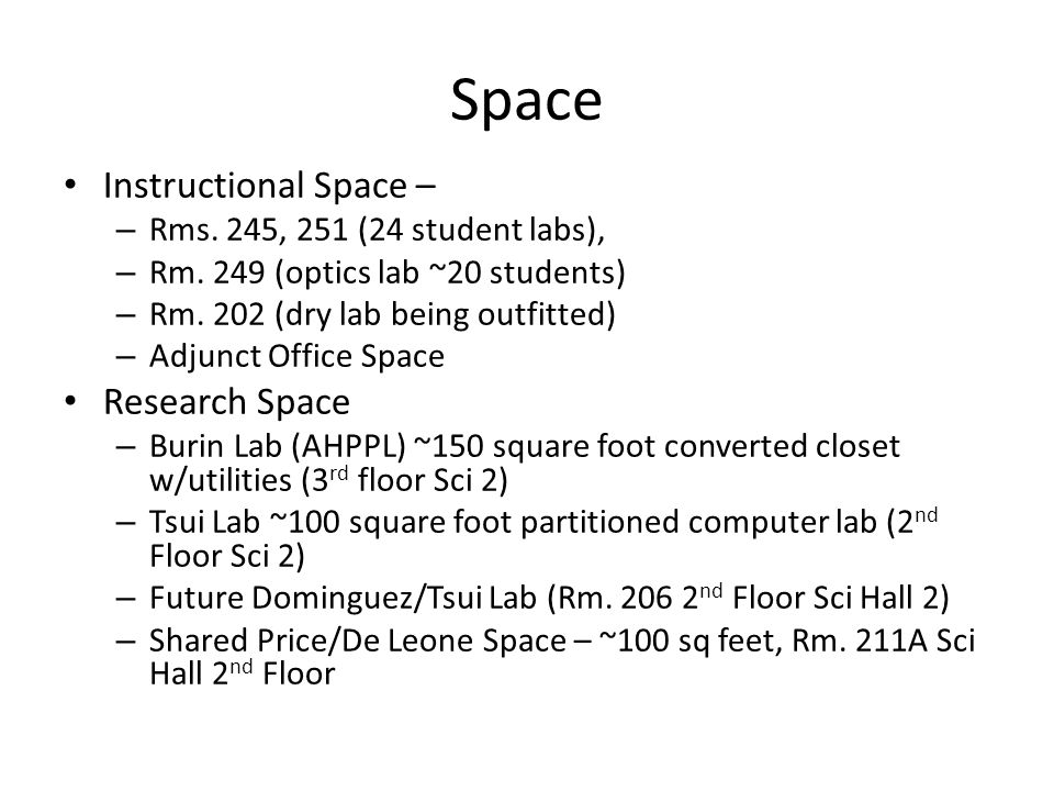 Space Instructional Space – – Rms. 245, 251 (24 student labs), – Rm. 249 (optics lab ~20 students) – Rm. 202 (dry lab being outfitted) – Adjunct Offic