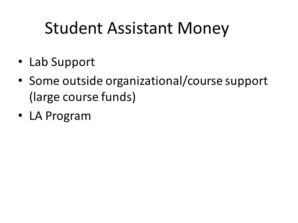 Student Assistant Money Lab Support Some outside organizational/course support (large course funds) LA Program
