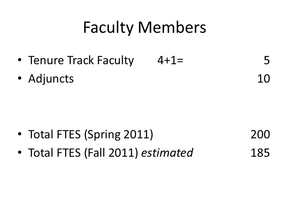 Faculty Members Tenure Track Faculty 4+1=5 Adjuncts10 Total FTES (Spring 2011)200 Total FTES (Fall 2011) estimated185