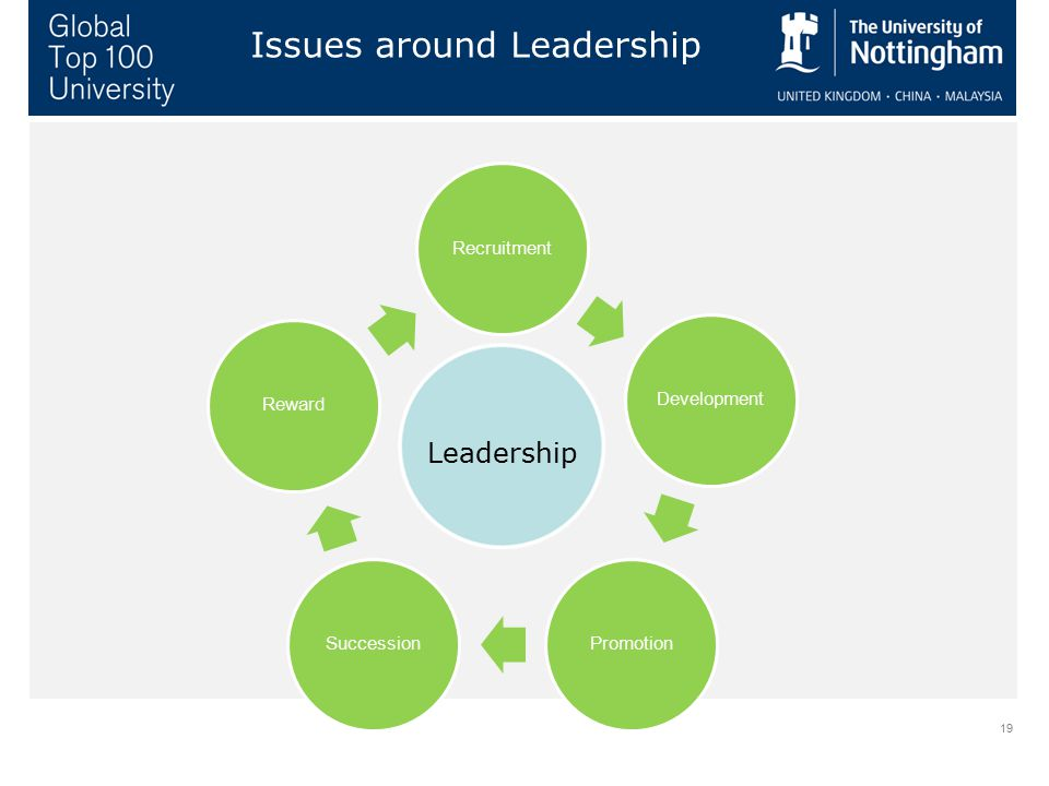 19 Issues around Leadership RecruitmentDevelopmentPromotionSuccessionReward Leadership