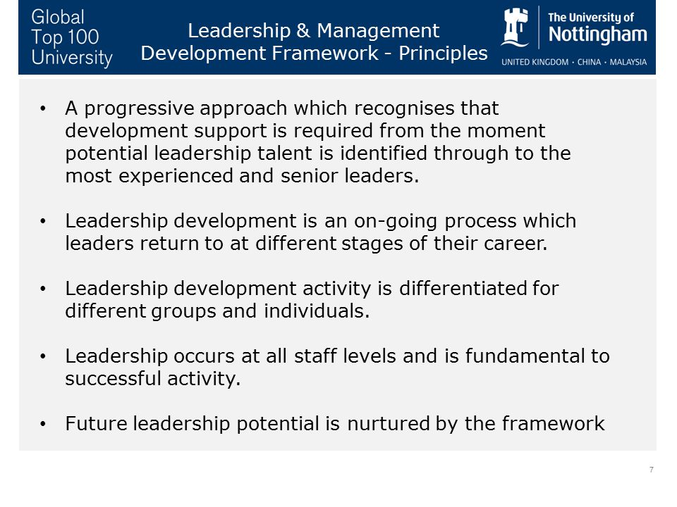 7 Leadership & Management Development Framework - Principles A progressive approach which recognises that development support is required from the mom