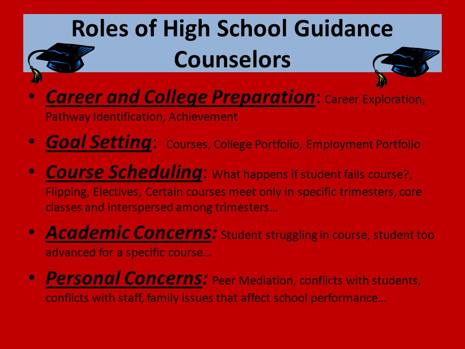 Roles of High School Guidance Counselors Career and College Preparation: Career Exploration, Pathway Identification, Achievement Goal Setting: Courses, College Portfolio, Employment Portfolio Course Scheduling: What happens if student fails course , Flipping, Electives, Certain courses meet only in specific trimesters, core classes and interspersed among trimesters… Academic Concerns: Student struggling in course, student too advanced for a specific course… Personal Concerns: Peer Mediation, conflicts with students, conflicts with staff, family issues that affect school performance…