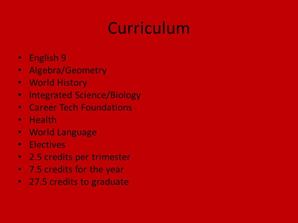Curriculum English 9 Algebra/Geometry World History Integrated Science/Biology Career Tech Foundations Health World Language Electives 2.5 credits per