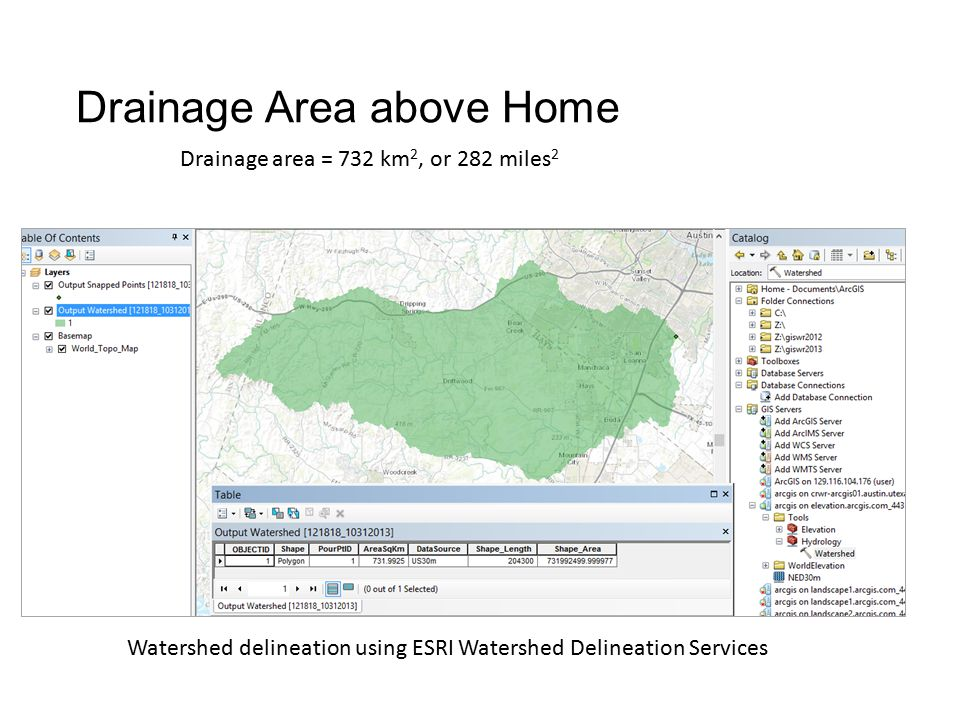 Drainage Area above Home Drainage area = 732 km 2, or 282 miles 2 Watershed delineation using ESRI Watershed Delineation Services