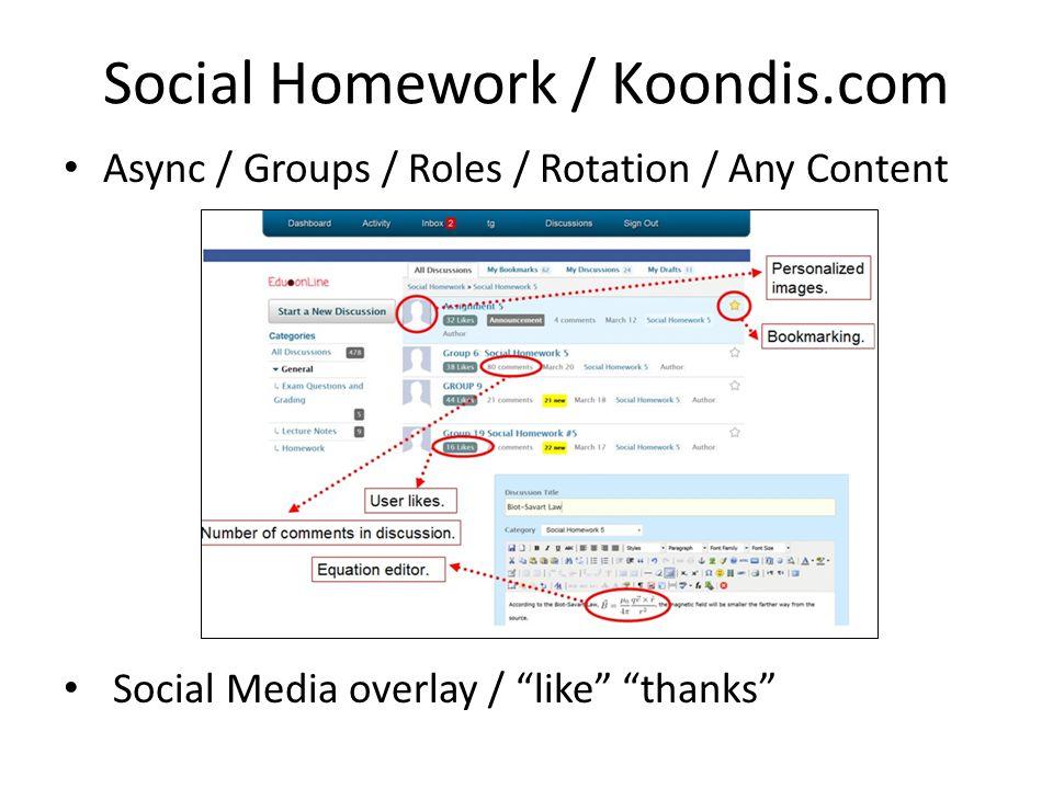 "Social Homework / Koondis.com Async / Groups / Roles / Rotation / Any Content Social Media overlay / ""like"" ""thanks"""