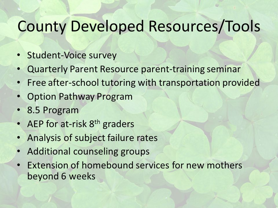 County Developed Resources/Tools Student-Voice survey Quarterly Parent Resource parent-training seminar Free after-school tutoring with transportation provided Option Pathway Program 8.5 Program AEP for at-risk 8 th graders Analysis of subject failure rates Additional counseling groups Extension of homebound services for new mothers beyond 6 weeks