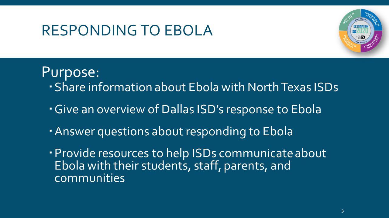 RESPONDING TO EBOLA Agenda  Ebola: Symptomology and Transmission  Ebola in North Texas  Dallas ISD's Response to Ebola  Implications for Schools of Suspected and Confirmed Ebola Cases  Resources regarding Ebola 4