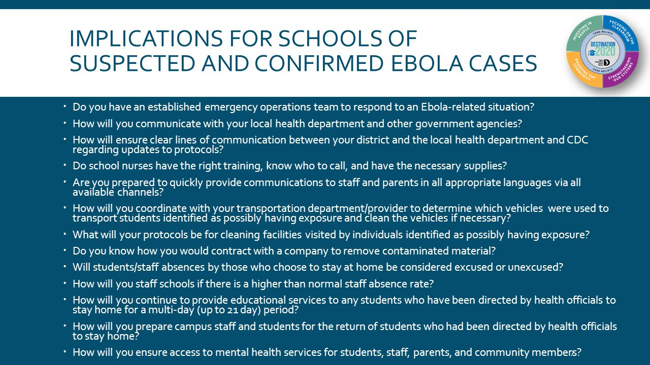 IMPLICATIONS FOR SCHOOLS OF SUSPECTED AND CONFIRMED EBOLA CASES  Do you have an established emergency operations team to respond to an Ebola-related