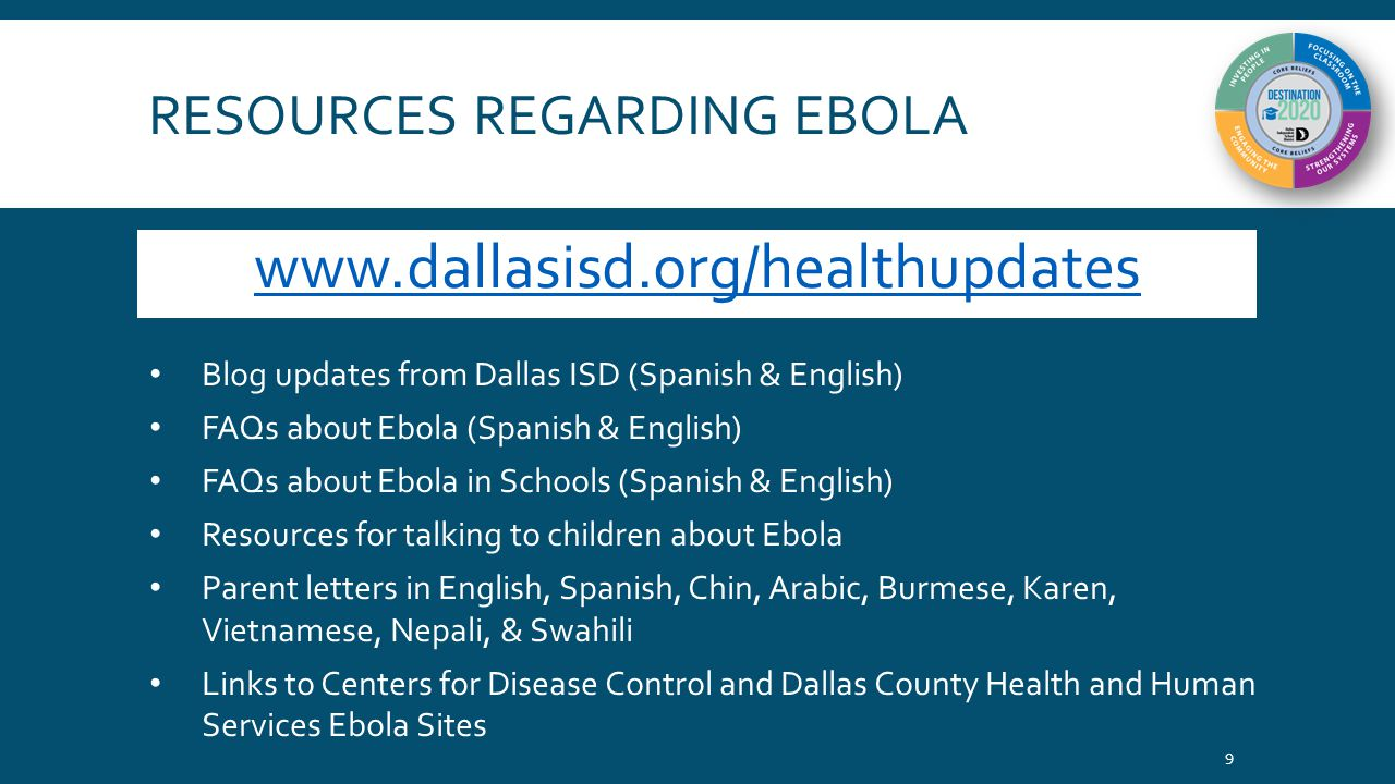 RESOURCES REGARDING EBOLA thehub.dallasisd.org 10 District's online News and Information page Featured stories on Ebola (link back to Health Updates page) Video news reports from campuses Other Resources Provided B-roll from within schools provided to media Facebook and Twitter (@dallasschools) messages