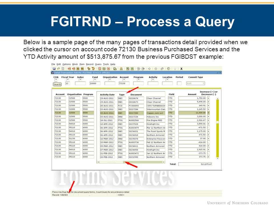 FGITRND – Process a Query Below is a sample page of the many pages of transactions detail provided when we clicked the cursor on account code 72130 Business Purchased Services and the YTD Activity amount of $513,875.67 from the previous FGIBDST example: