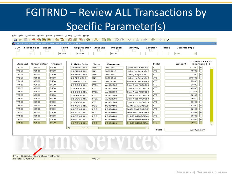 FGITRND – Review ALL Transactions by Specific Parameter(s)