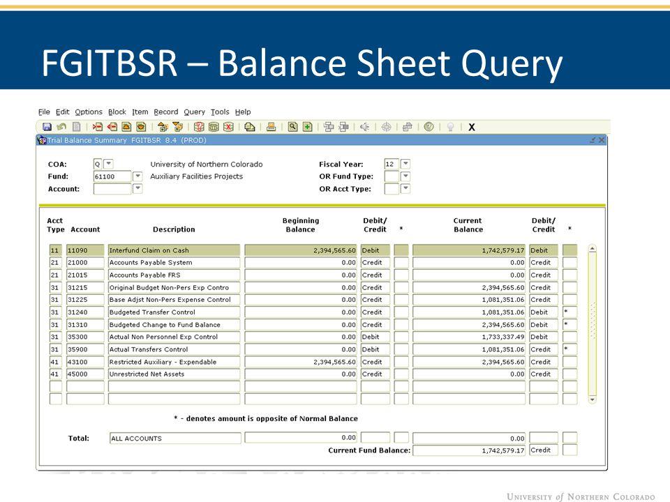 FGITBSR – Balance Sheet Query