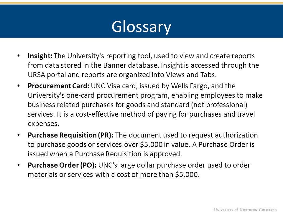 Insight: The University s reporting tool, used to view and create reports from data stored in the Banner database.