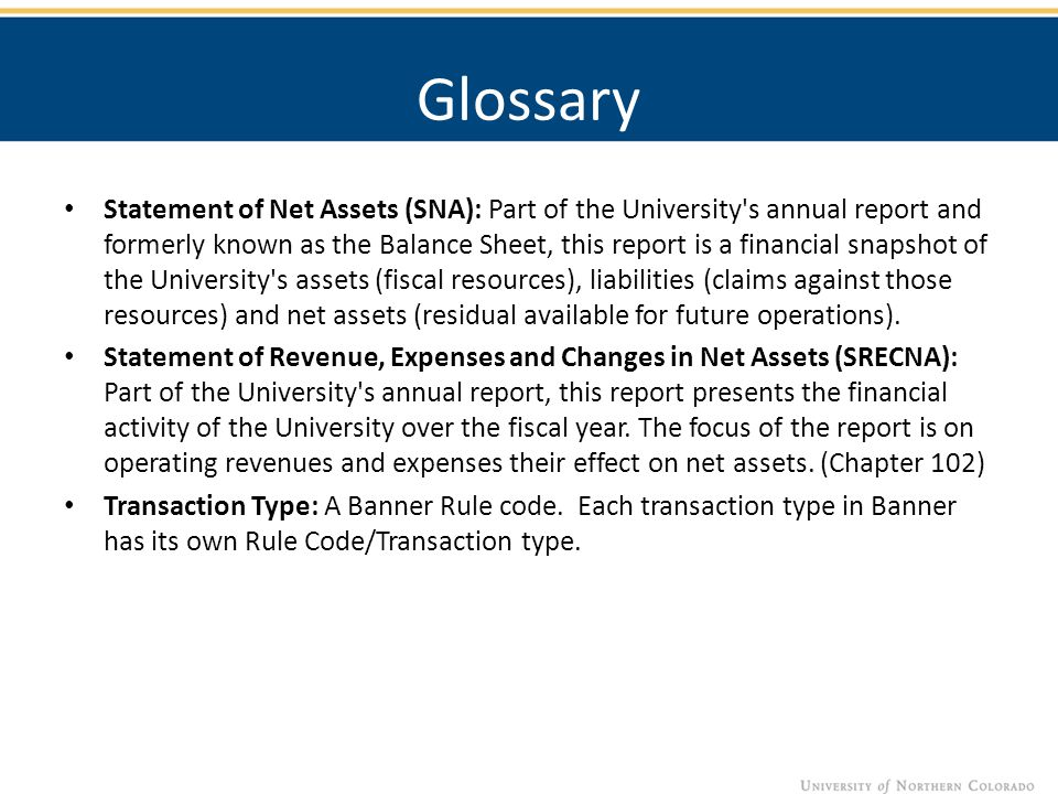 Glossary Statement of Net Assets (SNA): Part of the University s annual report and formerly known as the Balance Sheet, this report is a financial snapshot of the University s assets (fiscal resources), liabilities (claims against those resources) and net assets (residual available for future operations).