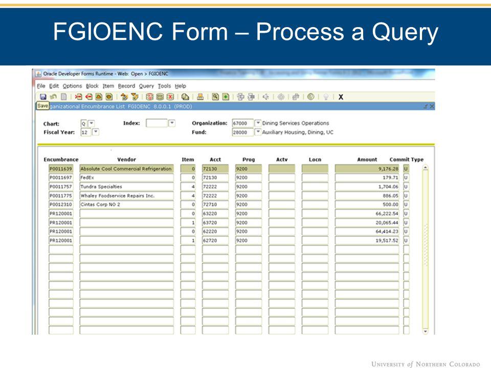 FGIOENC Form – Process a Query