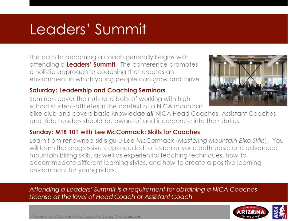 The path to becoming a coach generally begins with attending a Leaders' Summit.