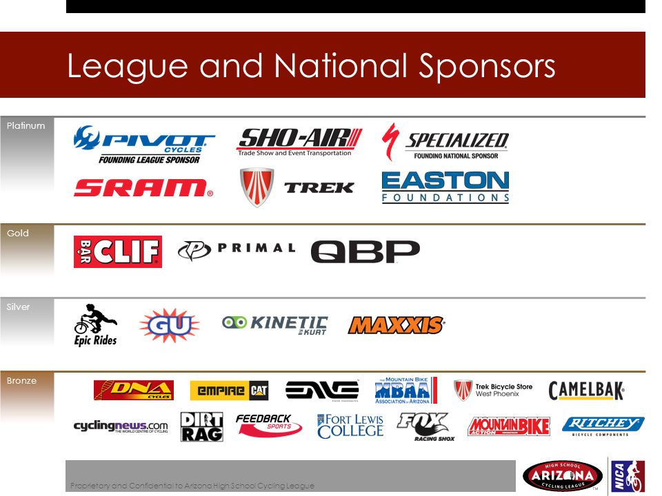 League and National Sponsors Proprietary and Confidential to Arizona High School Cycling League Platinum Gold Silver Bronze