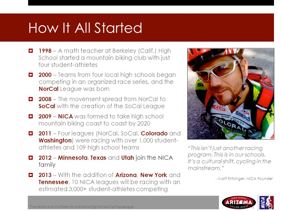 How It All Started  1998 – A math teacher at Berkeley (Calif.) High School started a mountain biking club with just four student-athletes  2000 – Teams from four local high schools began competing in an organized race series, and the NorCal League was born  2008 – The movement spread from NorCal to SoCal with the creation of the SoCal League  2009 – NICA was formed to take high school mountain biking coast to coast by 2020  2011 – Four leagues (NorCal, SoCal, Colorado and Washington ) were racing with over 1,000 student- athletes and 109 high school teams  2012 – Minnesota, Texas and Utah join the NICA family  2013 – With the addition of Arizona, New York and Tennessee, 10 NICA leagues will be racing with an estimated 3,000+ student-athletes competing This isn't just another racing program.
