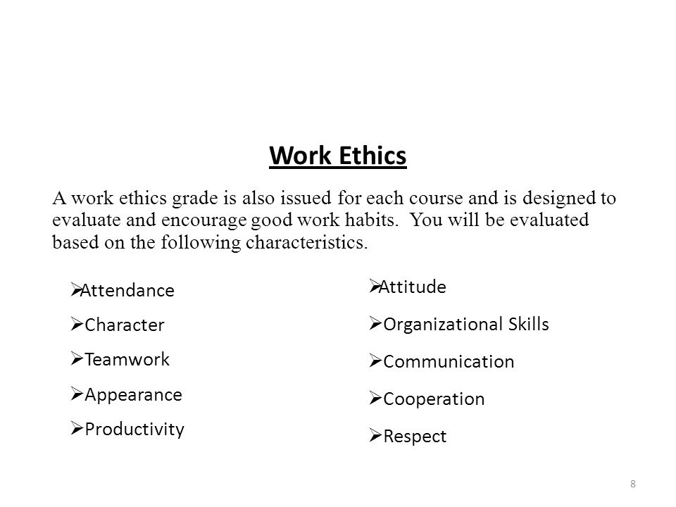 Work Ethics  Attendance  Character  Teamwork  Appearance  Productivity A work ethics grade is also issued for each course and is designed to evaluate and encourage good work habits.