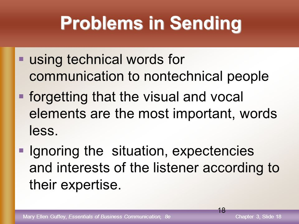 Mary Ellen Guffey, Essentials of Business Communication, 8eChapter 3, Slide 17 17 Common Problem Areas The following are supposed to be the common problem areas.