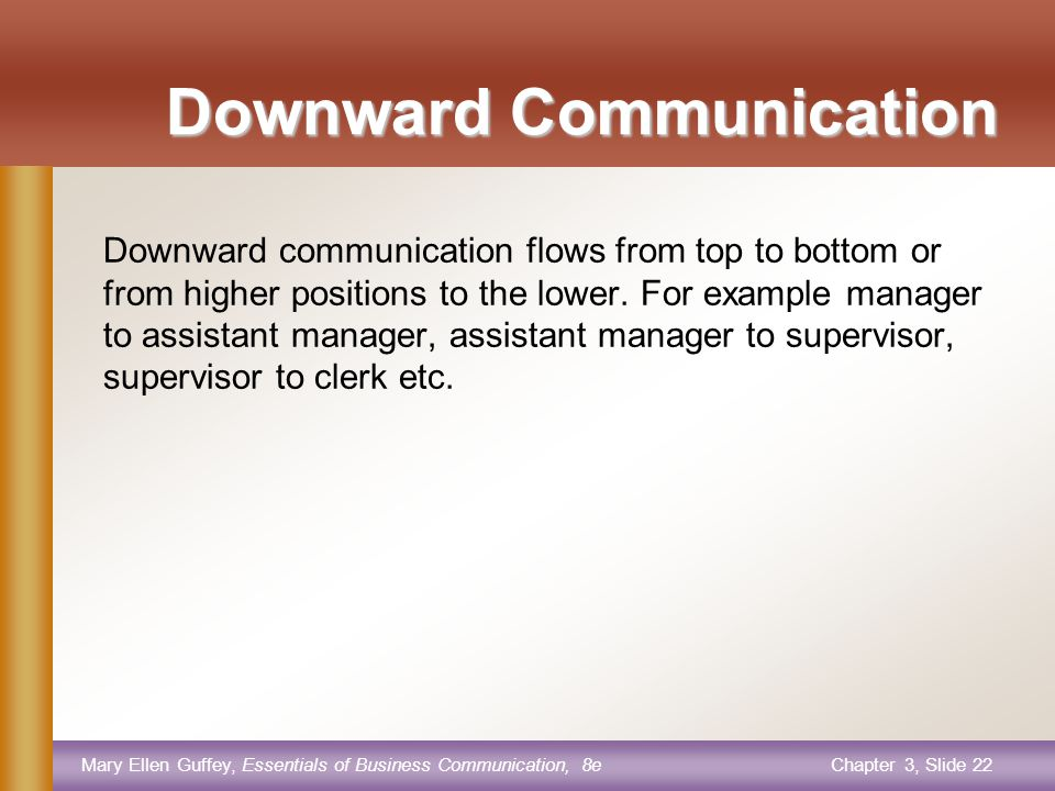 Mary Ellen Guffey, Essentials of Business Communication, 8eChapter 3, Slide 21 DIRECTION OF COMMUNICATION DOWNWARD UPWARD HORIZONTAL DIAGIONAL