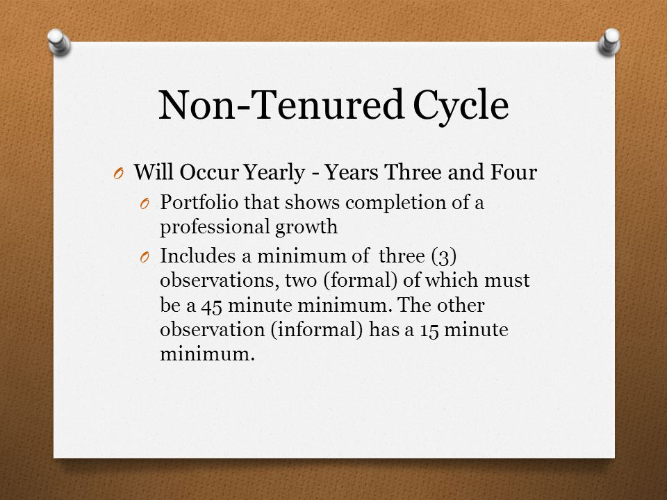 Non-Tenured Cycle O Will Occur Yearly - Years Three and Four O Portfolio that shows completion of a professional growth O Includes a minimum of three