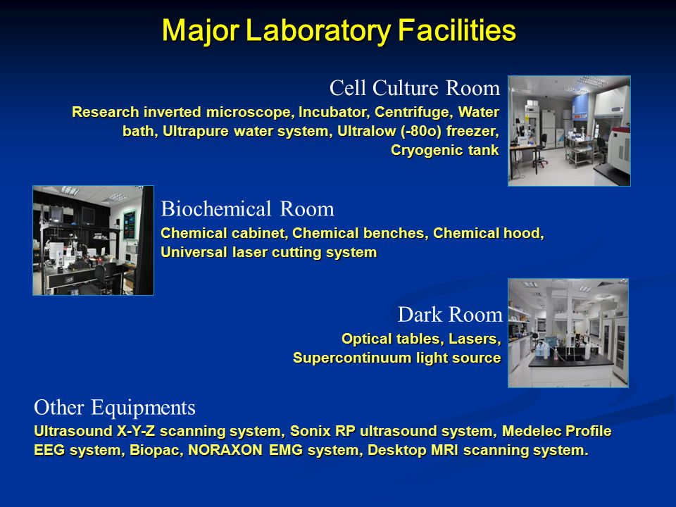 Major Laboratory Facilities Cell Culture Room Research inverted microscope, Incubator, Centrifuge, Water bath, Ultrapure water system, Ultralow (-80o) freezer, Cryogenic tank Other Equipments Ultrasound X-Y-Z scanning system, Sonix RP ultrasound system, Medelec Profile EEG system, Biopac, NORAXON EMG system, Desktop MRI scanning system.