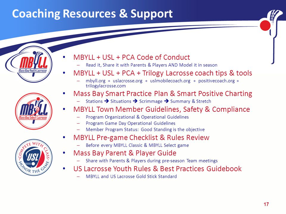 Coaching Resources & Support MBYLL + USL + PCA Code of Conduct – Read it, Share it with Parents & Players AND Model it in season MBYLL + USL + PCA + Trilogy Lacrosse coach tips & tools – mbyll.org + uslacrosse.org + uslmobilecoach.org + positivecoach.org + trilogylacrosse.com Mass Bay Smart Practice Plan & Smart Positive Charting – Stations  Situations  Scrimmage  Summary & Stretch MBYLL Town Member Guidelines, Safety & Compliance – Program Organizational & Operational Guidelines – Program Game Day Operational Guidelines – Member Program Status: Good Standing is the objective MBYLL Pre-game Checklist & Rules Review – Before every MBYLL Classic & MBYLL Select game Mass Bay Parent & Player Guide – Share with Parents & Players during pre-season Team meetings US Lacrosse Youth Rules & Best Practices Guidebook – MBYLL and US Lacrosse Gold Stick Standard 17