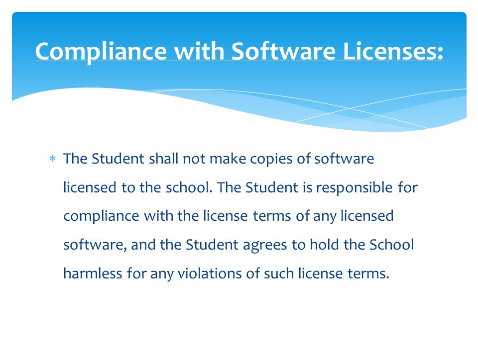  The Student may store documents or other files on the Equipment, and the Student is responsible for making back-up copies of such documents or other files.