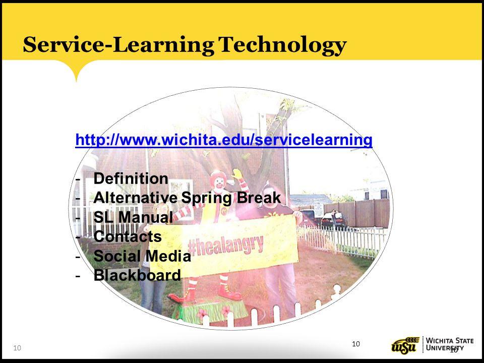 10 Service-Learning Technology 10 http://www.wichita.edu/servicelearning -Definition -Alternative Spring Break -SL Manual -Contacts -Social Media -Bla