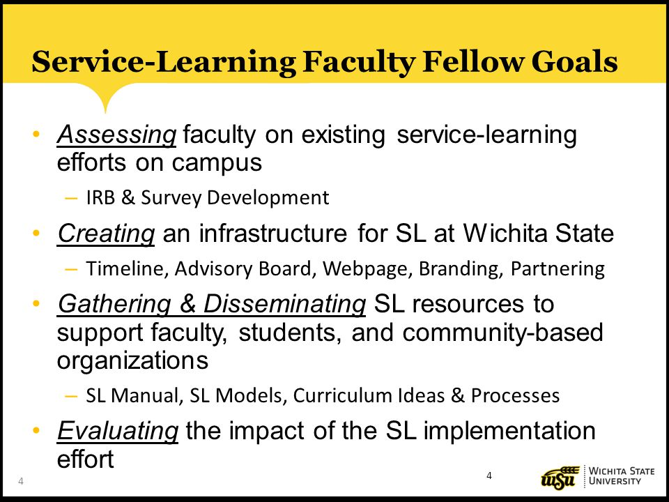 4 Service-Learning Faculty Fellow Goals Assessing faculty on existing service-learning efforts on campus – IRB & Survey Development Creating an infrastructure for SL at Wichita State – Timeline, Advisory Board, Webpage, Branding, Partnering Gathering & Disseminating SL resources to support faculty, students, and community-based organizations – SL Manual, SL Models, Curriculum Ideas & Processes Evaluating the impact of the SL implementation effort 4