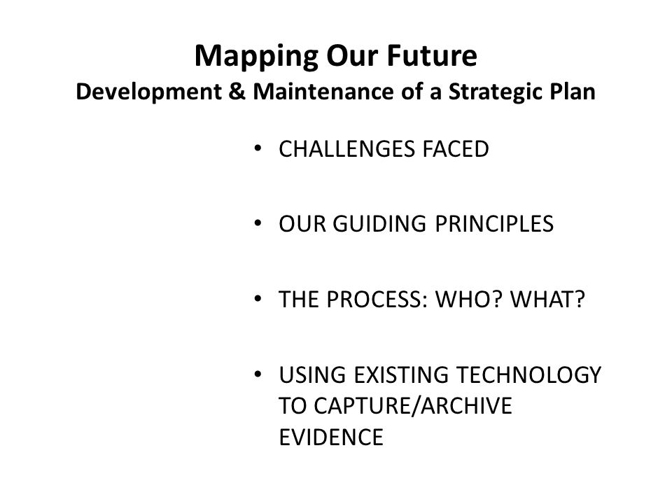 Mapping Our Future Development & Maintenance of a Strategic Plan CHALLENGES FACED OUR GUIDING PRINCIPLES THE PROCESS: WHO.