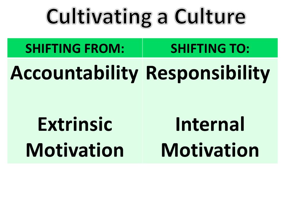 SHIFTING FROM:SHIFTING TO: Accountability Extrinsic Motivation Responsibility Internal Motivation