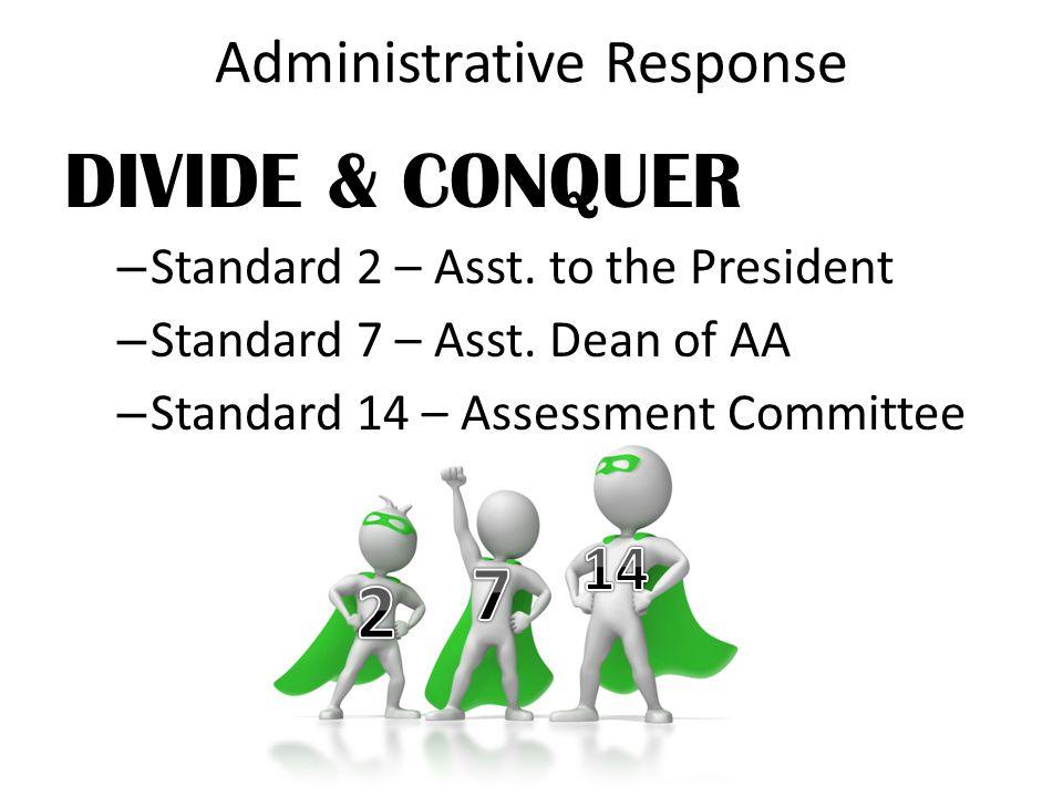 Administrative Response DIVIDE & CONQUER – Standard 2 – Asst.