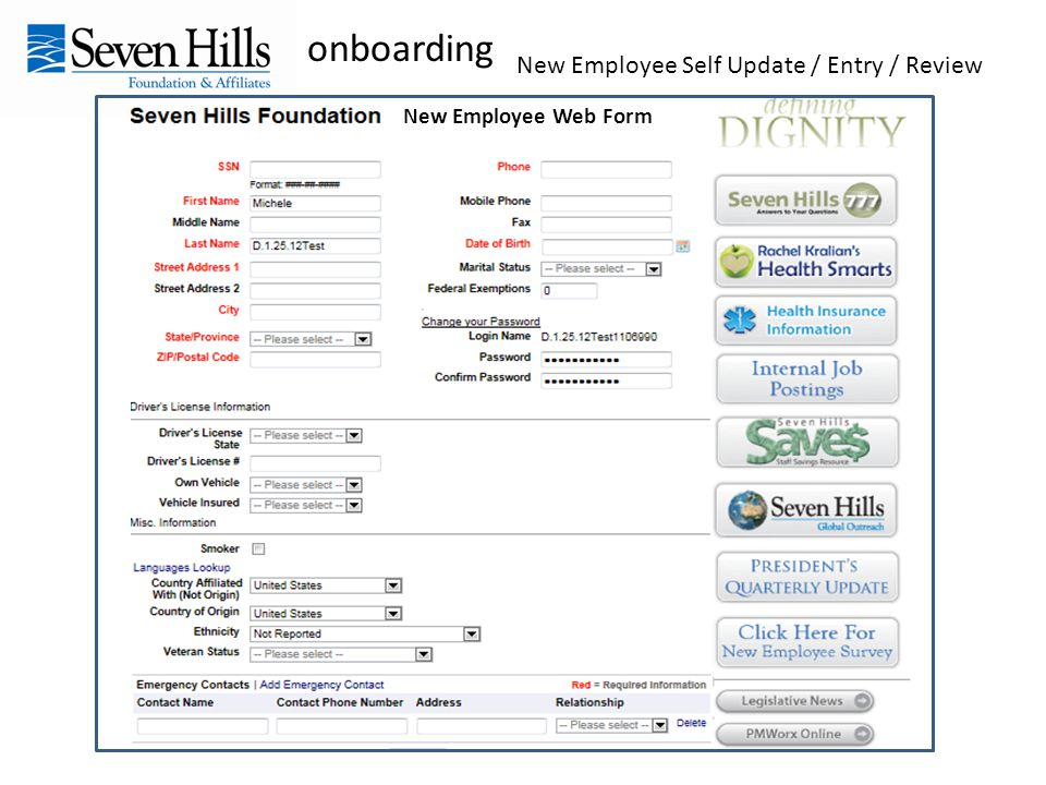 onboarding New Employee Self Update / Entry / Review New Employee Web Form