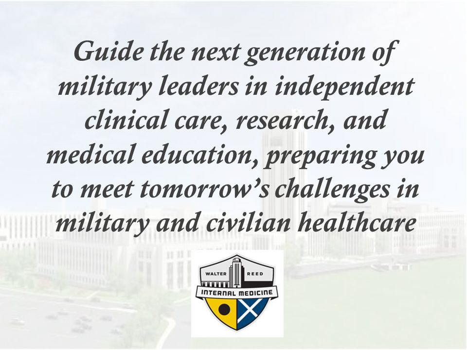 Residency Opportunities…  Multiple Research Opportunities (Clinical and Bench)  Humanitarian Assistance/Disaster Relief  USNS Comfort (Hospital Ship)  Landstuhl RMC Wards (Germany)  Naval Hospital Guam ICU  Away research rotations in Kenya, Peru, Djibouti, Honduras, other sites  ICU rotations in the Washington Hospital Center MICU, Virginia Hospital Center MICU  Advanced Heart Failure rotation –Wash.