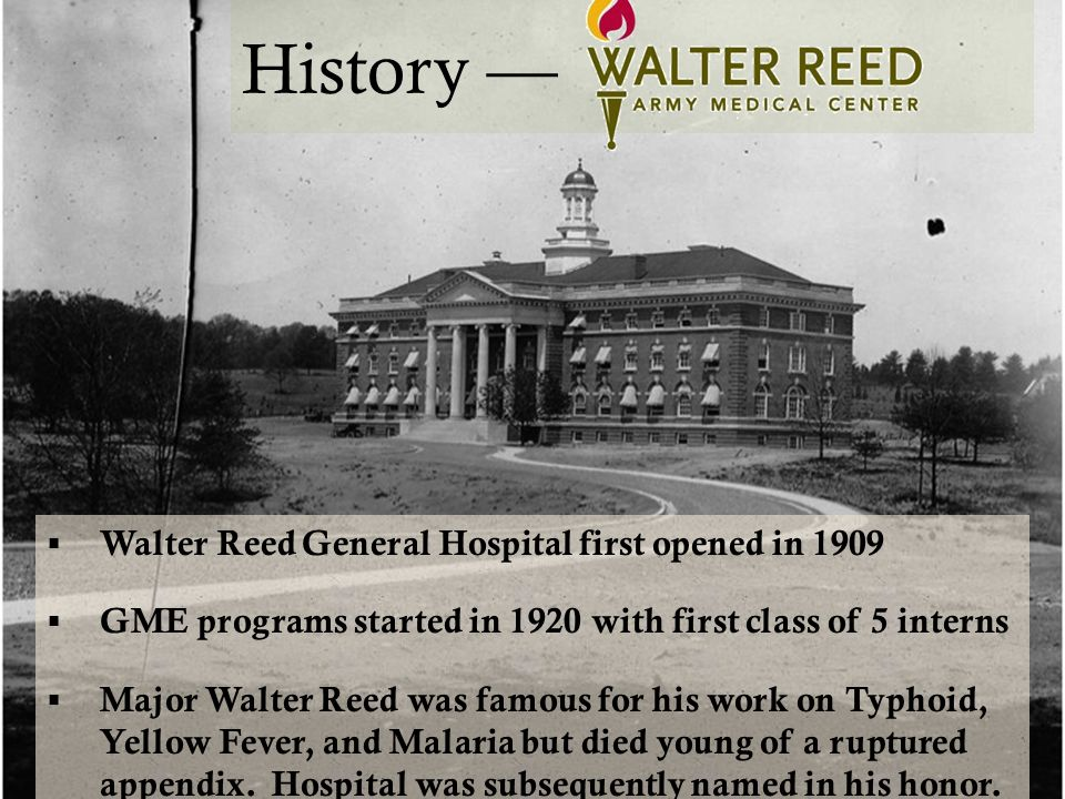 History—NNMC Bethesda  Naval hospital opened in 1942  Named Bethesda for small spring-fed pond that reminded President F.