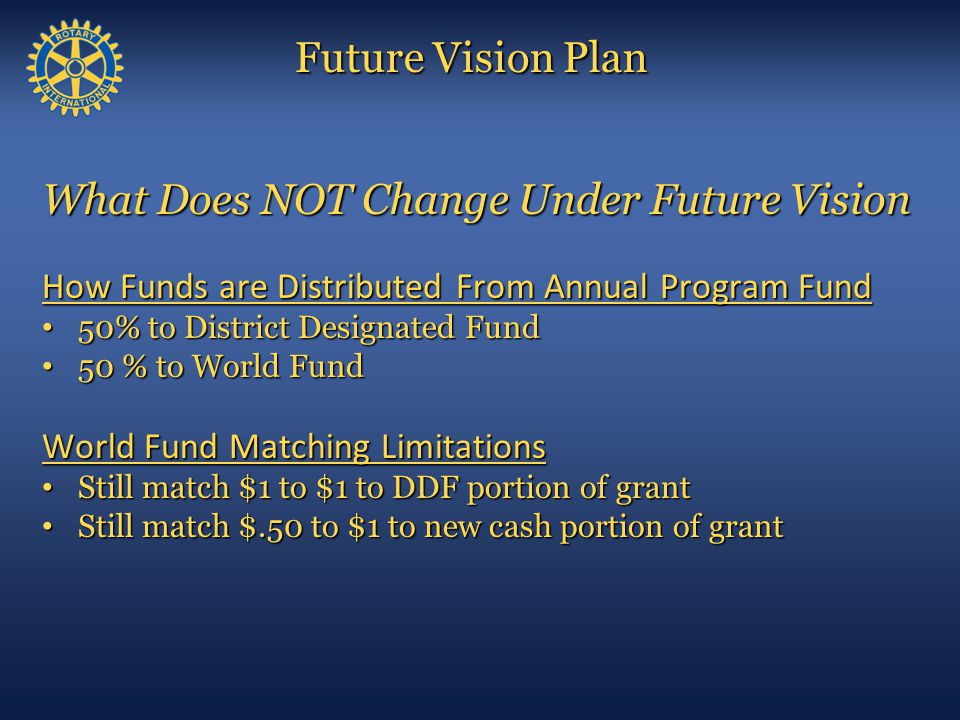 Permanent Fund Restricted Fund (SHARE System) (Income Only) Annual Program Fund World Fund District Designated Fund Foundation Administration (Income Only) (for 3 Years) (50 / 50) (Split)  Controlled by Donor  PolioPlus  PolioPlus Partners  Grant Projects  Donor Advised  Controlled by District  District Simplified Grants  Ambassadorial Scholars  Additional GSE Team  Grant Projects  Controlled by TRF  GSE Team  Grant Projects (Matching)  Controlled by Donor  Peace Scholars  Grant Projects