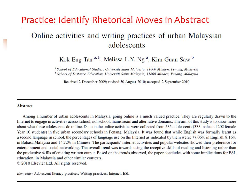Practice: Identify Rhetorical Moves in Abstract