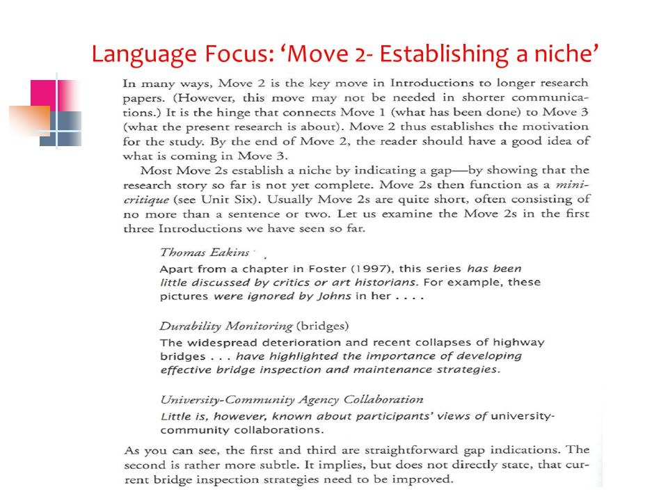 Language Focus: 'Move 2- Establishing a niche'