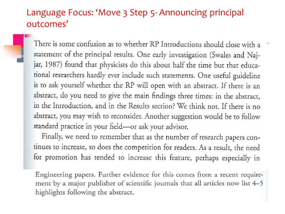 Language Focus: 'Move 3 Step 5- Announcing principal outcomes'
