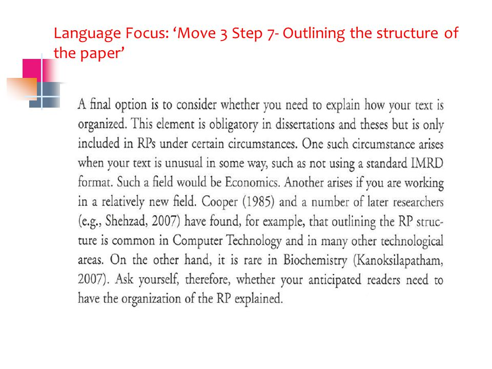 Language Focus: 'Move 3 Step 7- Outlining the structure of the paper'