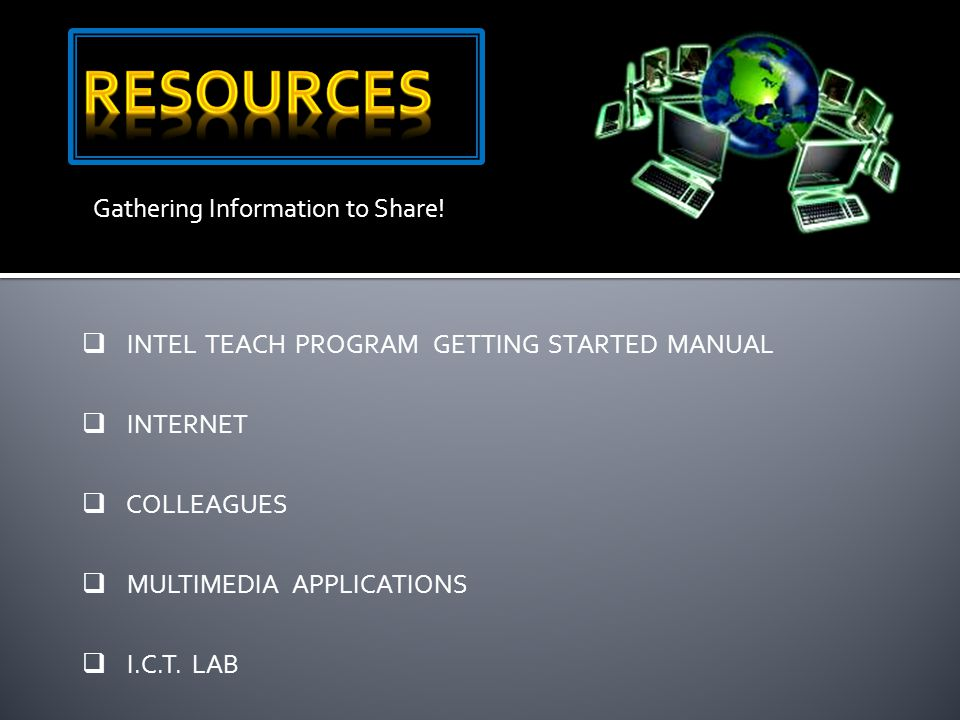 Gathering Information to Share!  INTEL TEACH PROGRAM GETTING STARTED MANUAL  INTERNET  COLLEAGUES  MULTIMEDIA APPLICATIONS  I.C.T. LAB