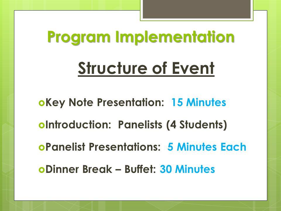 Program Implementation Structure of Event  Key Note Presentation: 15 Minutes  Introduction: Panelists (4 Students)  Panelist Presentations: 5 Minutes Each  Dinner Break – Buffet: 30 Minutes