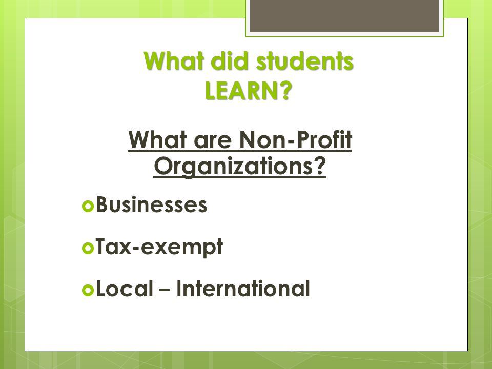 What did students LEARN. What are Non-Profit Organizations.