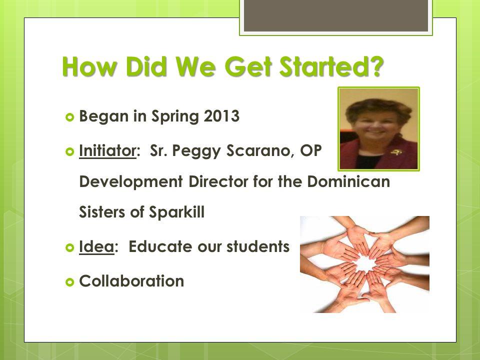 How Did We Get Started.  Began in Spring 2013  Initiator: Sr.